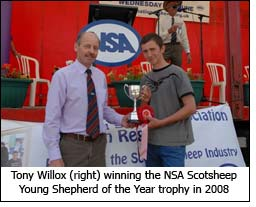 Tony Willox (right) winning the NSA Scotsheep Young Shepherd of the Year trophy in 2008