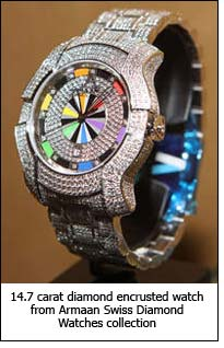 14.7 carat diamond encrusted watch from Armaan Swiss Diamond Watches collection.