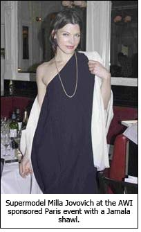 Supermodel Milla Jovovich at the AWI sponsored Paris event with a Jamala shawl.