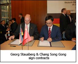 Georg Stausberg & Chang Song Gong sign contracts