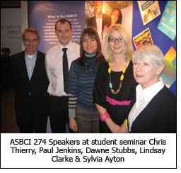 ASBCI 274 Speakers at student seminar Chris Thierry, Paul Jenkins, Dawne Stubbs, Lindsay Clarke & Sylvia Ayton