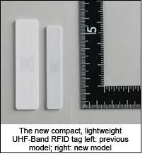 The new compact, lightweight UHF-Band RFID tag left: previous model; right: new model