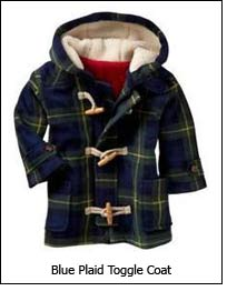 Blue Plaid Toggle Coat