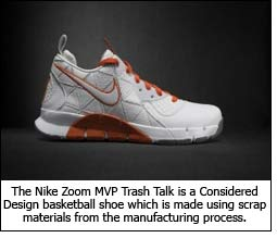 The Nike Zoom MVP Trash Talk is a Considered Design basketball shoe which is made using scrap materials from the manufacturing process.