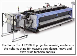 The Sulzer Textil P7300HP projectile weaving machine is the right machine for weaving very dense, heavy and extra-wide technical fabrics.
