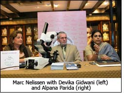 Marc Nelissen with Devika Gidwani (left) and Alpana Parida (right)