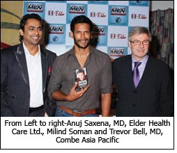 From Left to right-Anuj Saxena, MD, Elder Health Care Ltd., Milind Soman and Trevor Bell, MD, Combe Asia Pacific