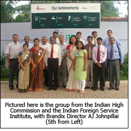 Pictured here is the group from the Indian High Commission and the Indian Foreign Service Institute, with Brandix Director AJ Johnpillai (5th from Left)