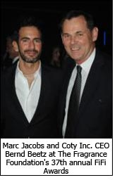 Marc Jacobs and Coty Inc. CEO Bernd Beetz at The Fragrance Foundation's 37th annual FiFi Awards.