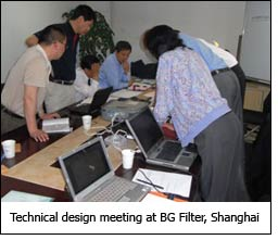 Technical design meeting at BG Filter, Shanghai