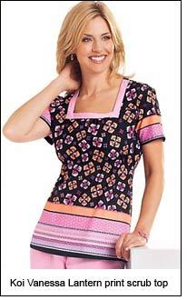 Koi Vanessa Lantern print scrub top
