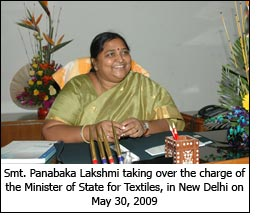 Smt. Panabaka Lakshmi taking over the charge of the Minister of State for Textiles, in New Delhi on May 30, 2009.