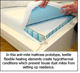 In this anti-mite mattress prototype, textile flexible heating elements create hygrothermal conditions which prevent house dust mites from setting up residence.