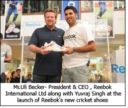 Mr.Uli Becker- President & CEO , Reebok International Ltd along with Yuvraj Singh at the launch of Reebok