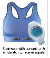 Sportwear with transmitter & wristwatch to receive signals