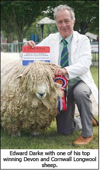 Edward Darke with one of his top winning Devon and Cornwall Longwool sheep.