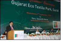 The Union Minister of Textiles, Shri Dayanidhi Maran addressing at the inaugural ceremony of Gujarat Eco Textile Park at Surat, Gujarat on September 09, 2009.