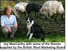 Joy MacCarthy with some of the fleeces supplied by the British Wool Marketing Board