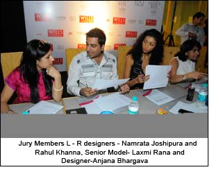 Jury Members L - R designers - Namrata Joshipura and Rahul Khanna, Senior Model- Laxmi Rana and Designer-Anjana Bhargava