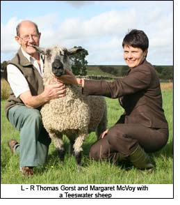 L - R Thomas Gorst and Margaret McVoy with a Teeswater sheep