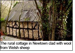 The rural cottage in Newtown clad with wool from Welsh sheep
