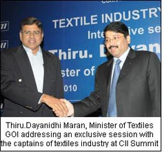 Thiru.Dayanidhi Maran, Minister of Textiles GOI addressing an exclusive session with the captains of textiles industry at CII Summit
