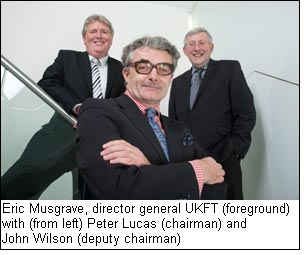 Eric Musgrave, director general UKFT (foreground) with (from left) Peter Lucas (chairman) and John Wilson (deputy chairman)