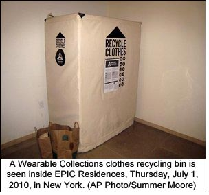 A Wearable Collections clothes recycling bin is seen inside EPIC Residences, Thursday, July 1, 2010, in New York. (AP Photo/Summer Moore)